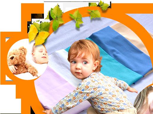 Obrázek dítěte s prostěradly